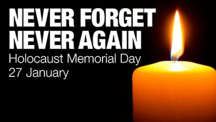 Never forget, never again Holocause Memorial Day 27 Jan text and a lighted candle