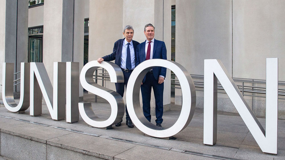 Dave Prentis and Keir Starmer in front of UNISON Centre