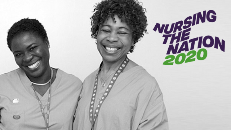 Two nurses with Nursing the Nation 2020 text