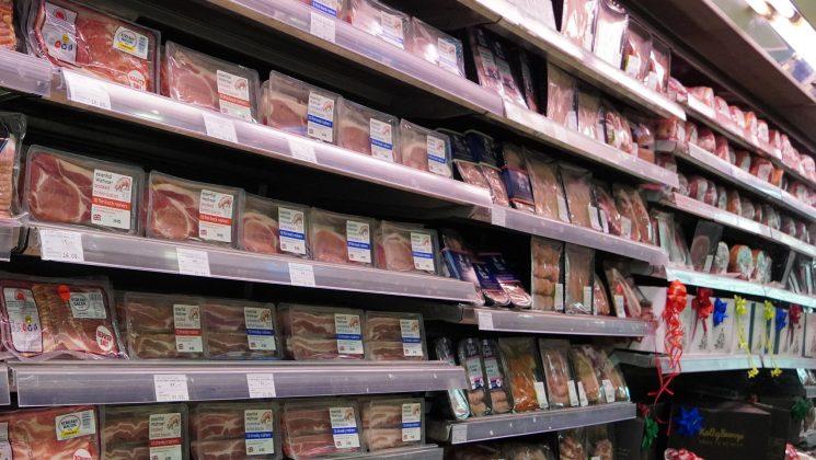 meat shelves at a supermrket