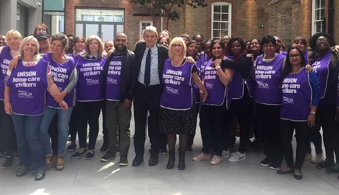 Care workers from Birmingham pose with general secretary Dave Prentis at UNISON Centre in London