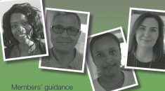 Detail of Settled Status guidance for members cover featuring four black and white mugshots on green and purple background