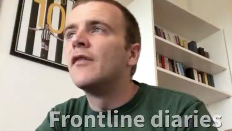 screen grab of UNISON nursing officer Stuart Tuckwood in a video diary