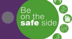 Be on the safe side caption with heather and safety graphics