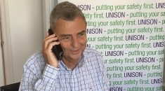 General secretary Dave Prensi phoning a new member during the COVID-19 lockdown