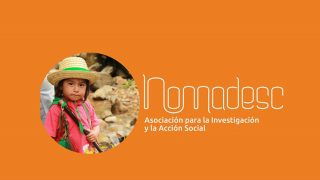 Nomadesco logo on an orange background, with a small circular picture of a Colombian girl