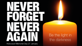 Never forget, never again: be the light in the darkness, Image of a lit candle.