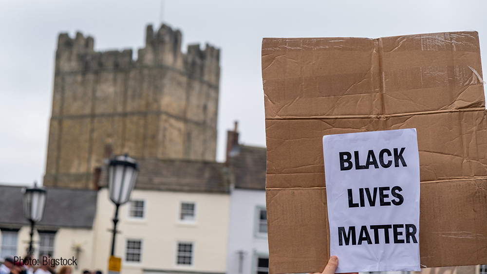 Black Lives Matter slogan on a homemade placard at a Yorkshire protest in 2020