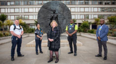 general secretary Christina McAnea with UNISON members outside a London hospital