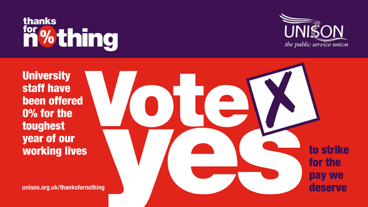 Thanks for nothing. University staff have been offered 0% for the toughest year of our working lives. Vote YES to strike for the pay we deserve.