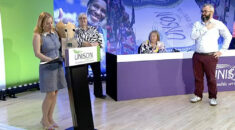 President Jopsie Bird at the end of special delegate conference receives gifts and applause
