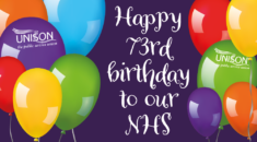 Graphic image with balloons and Happy 73rd birthday to our NHS text