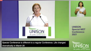 Ruth Davies, WET chair, addressing the 2021 virtual conference