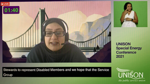 Tansaim Hussain-Gul speaking at the UNISON energy service group virtual conference in June 2021