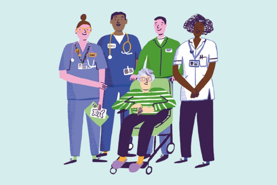 Cartoon image of a diverse group of nurses smiling and standing in a row behind a patient in a wheelchair