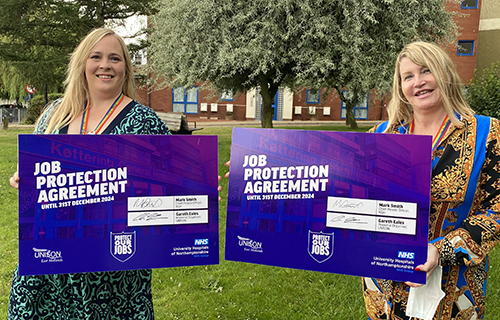 UNISON convenor at Kettering General Hospital Leanne Weatherly and UNISON branch secretary Cheryl Mann celibate the signing