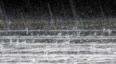 black and white picture of rain falling