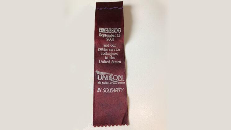UNISON 9/11 commemorative ribbon in maroon