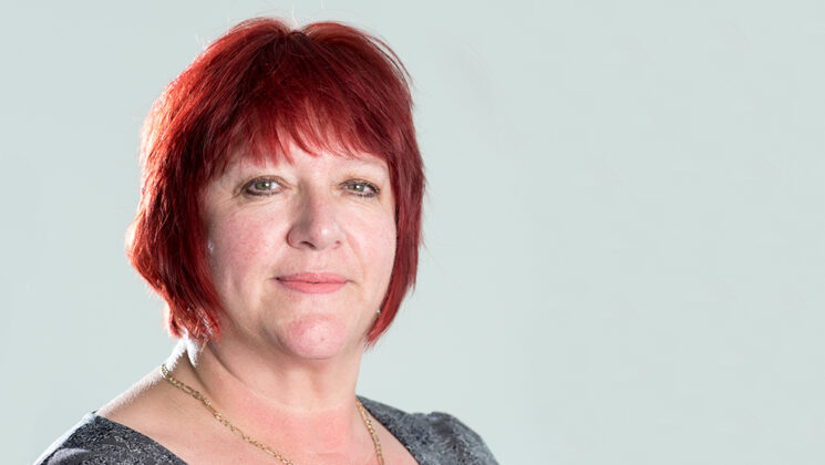 Head and shoulders portrait of UNISON vice president Angela Egan
