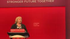 Christina AmcAnea dressing the Labour Party conference