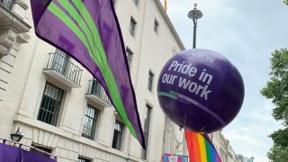 A Proud to be in Unison ballon at a rally